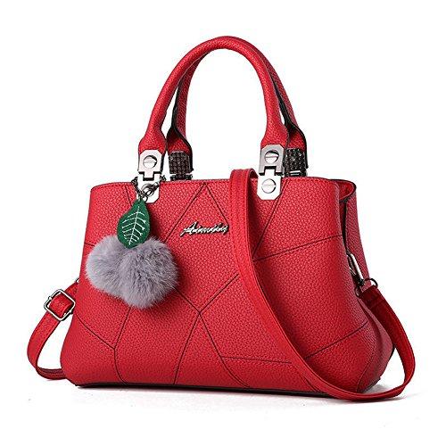 Sacs épaule Femme Vin Fourre Barwell Sacs Sac Bandoulière Main Messenger PU tout Rouge portés Sac à S4nUY8