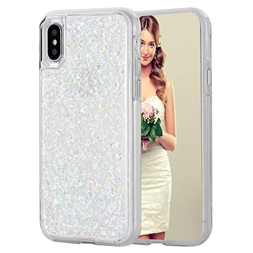 (iPhone 8 Plus Case, Inkomo Women Luxury Fashion Glitter Gold Foil Sparkle Hard Back Cover with Clear TPU Bumper Protective Phone Bling Case for iPhone 8 Plus / 7 Plus / 6s Plus 5.5'' (White/Gold))