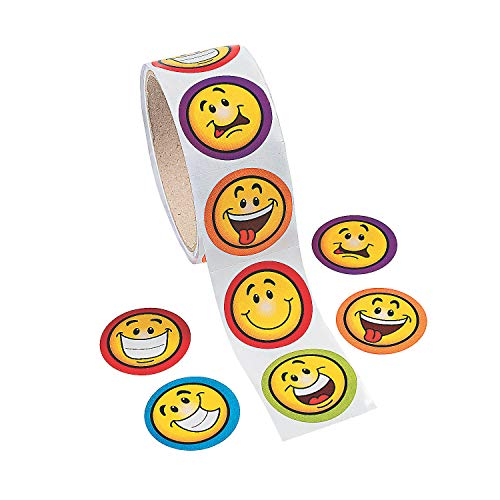 Fun Express Goofy Smile Face Stickers (1 Roll of 100 -