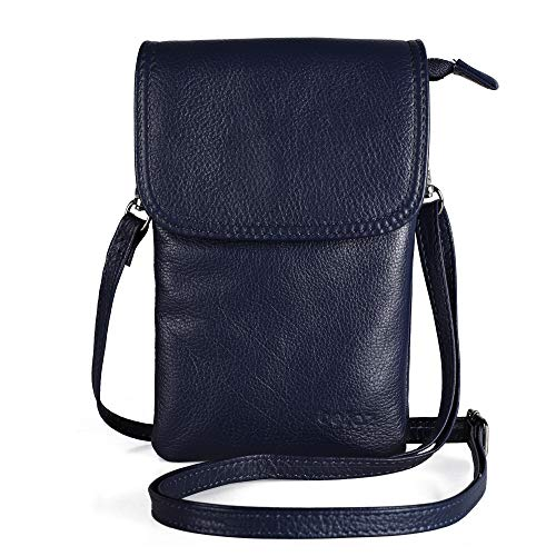 Befen Cell Phone Crossbody Wallet Purse, Women Small Leather Crossbody Bag - Fit iPhone Xs Max (Navy Blue) ()