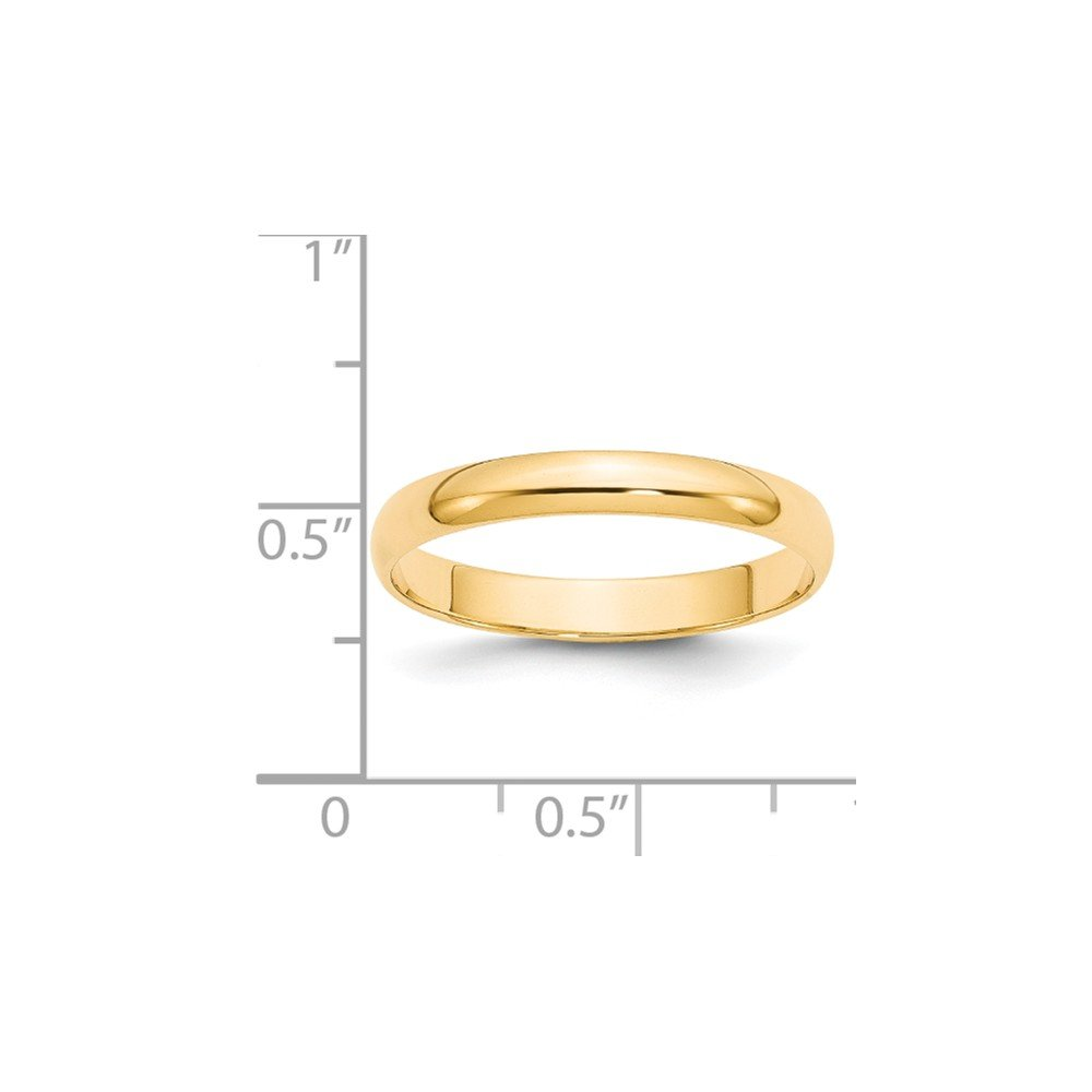 14K Yellow Gold 3mm Lightweight Half Round Band Ring
