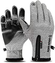 Walmeck Thermal Winter Gloves Touch-Screen Cycling Gloves Water Repellent Windproof Fleece Gloves Warm Climbin