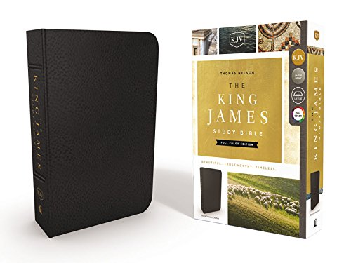 KJV, The King James Study Bible, Genuine Leather, Black, Indexed, Full-Color Edition
