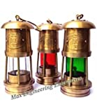 Nautical Antique Minor Lamp Brass Oil Lantern - Brass Trawler Nautical Hanging Oil Lamp 7'' (Brass)