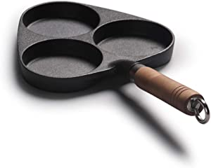 Cast Iron 3-Cup Egg Frying Pan, Non Stick Egg Cooker Pan