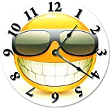 """Large 10.5"""" Wall Clock Decorative Round Wall Clock Home Decor Novelty COOL SMILEY FACE WITH SUNGLASSES CLOCK"""