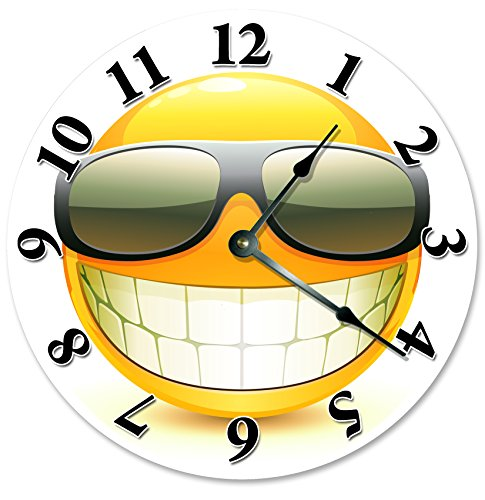 COOL SMILEY FACE WITH SUNGLASSES CLOCK Large 10.5 inch Clock House Decoration, Wall Hang Clock HAPPY FACE, SMILEY CLOCK (Large Open Face Clock compare prices)