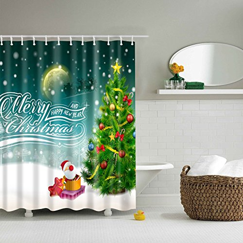 Messagee Happy New Year Christmas Tree Fabric Shower Curtain Waterproof / Mildew Resistant 71