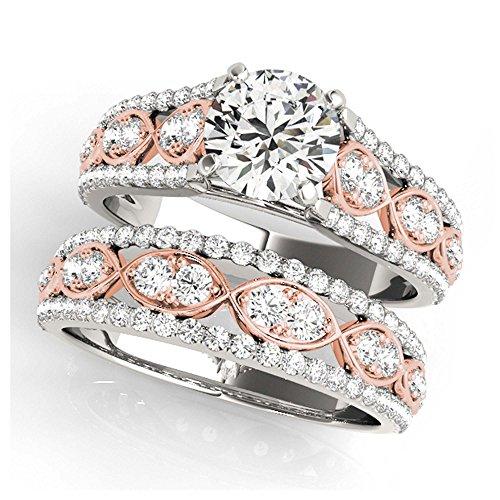 14K White Gold Unique Wedding Diamond Bridal Set Style MT50926
