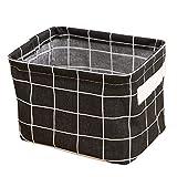 Small Foldable Storage Basket waterproof Oxford Storage Bins for Toy Storage(Black,7.9x5.5x6.3In)