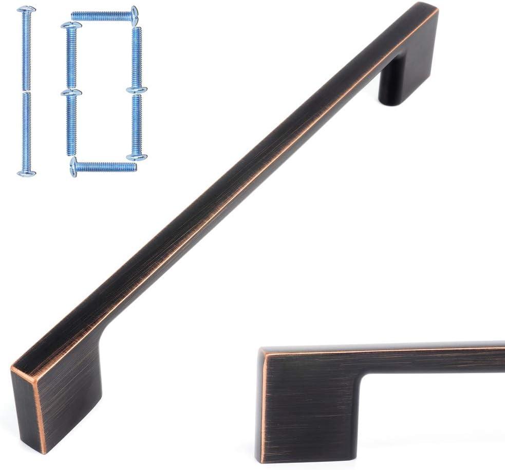 Koofizo Wide Foot Cabinet Bar Pull - Oil Rubbed Bronze Modern Solid Handle, 6.3 Inch/160mm Screw Spacing, 10-Pack for Kitchen Cupboard Door, Bedroom Dresser Drawer, Bathroom Wardrobe Hardware