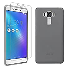 """ASUS Zenfone 3 Laser Case + Screen Protector, Gzerma Soft Shock-Absorbing Scratch Resistant Anti Slip TPU Gel Silicone Back Protection Cover and High Definition (HD) Clear, Bubble Free Screen Shield for ASUS Zenfone3 Laser ZC551KL 5.5"""", Gray"""