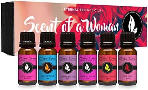 Scent of A Woman Gift Set of 6 Premium Fragrance Oils - Guava Colada Type, Twilight Woods Type, Bali Mango Type, Passion Fruit & Guava, Juniper Breeze Type, Love Spell Type - Eternal Essence Oils