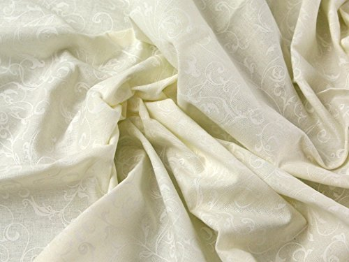 (Swirling Scroll Lacquer Print Cotton Poplin Dress Fabric Cream - per metre)