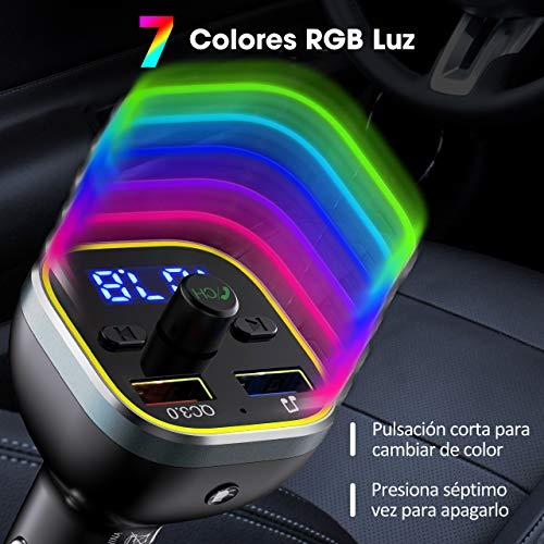 Transmisor Fm Bluetooth V50 Rgb 7 Colores Luz De Anillo Victsing Manos Libres Para Coche Qc30 Carga Rapida Reproductor Mp3 Coche Adaptador De Radio Dual Usb Qc30 5v1a Tarjetas Sd U Disk