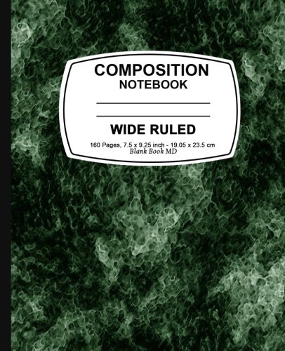 Composition Notebook: Green Marble,  Lined Composition Notebook, Wide Ruled, 7.5 x 9.25, 160 Pages For for School / Teacher / Office / Student Composition Book