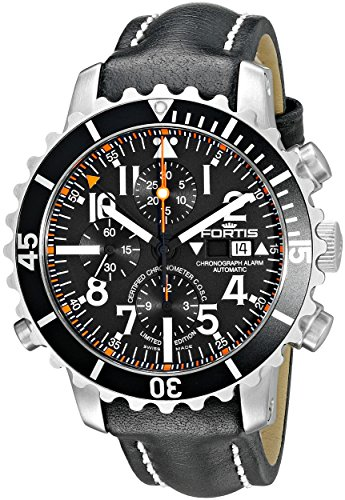 - Fortis Men's 673.10.41 L.01 B-42 Marinemaster Chronograph Alarm Chronometer C.O.S.C. Analog Display Automatic Self Wind Black Watch