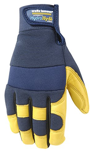 Men's Genuine Leather Palm Work Gloves, Water-Resistant HydraHyde, Medium (Wells Lamont 3207M)