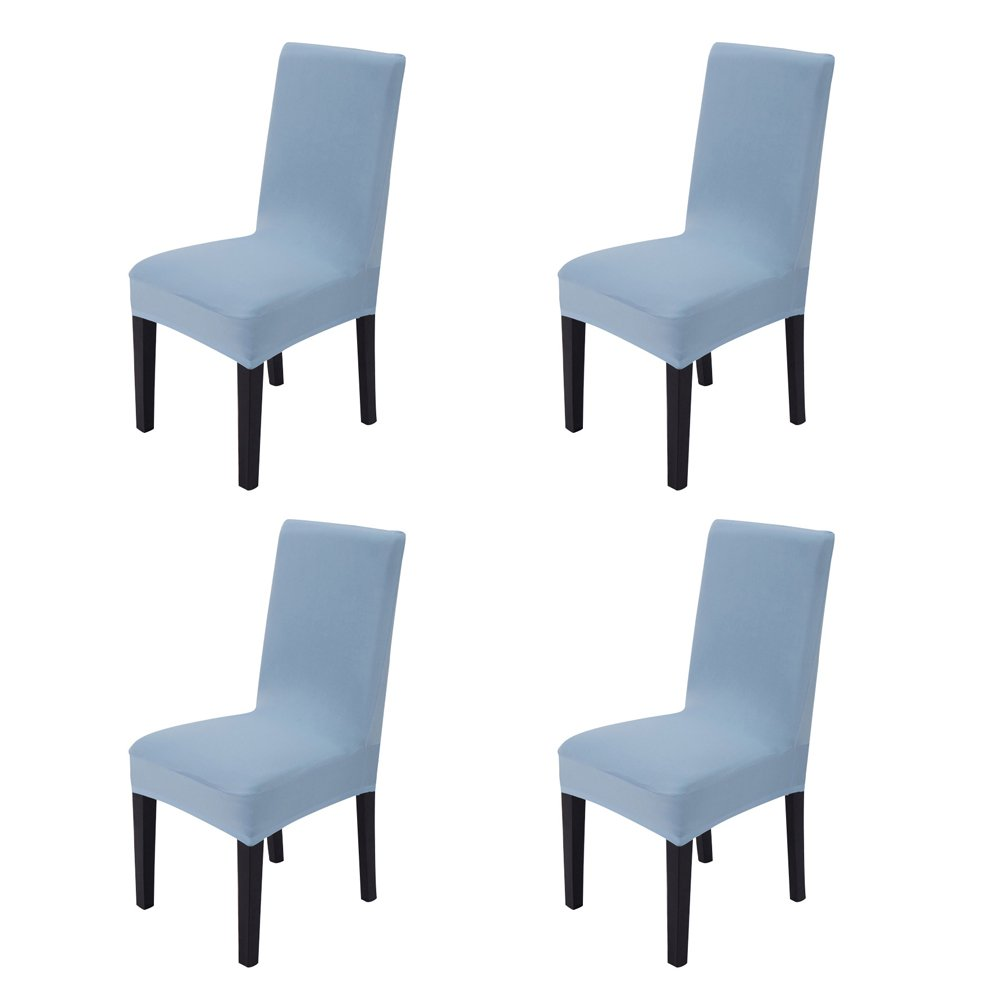 Hemons 4pcs Solid Color Stretchy Removable Washable Chair Covers Ceremony Hotel Dining Room Kitchen Bar Dining Seat Cover Restaurant Wedding Part Decor (Sky Blue)
