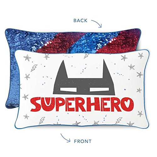 Superhero Kids Pillow with Reversible Blue & Red Color-Changing Mermaid Sequins by Mermaid Pillow Co
