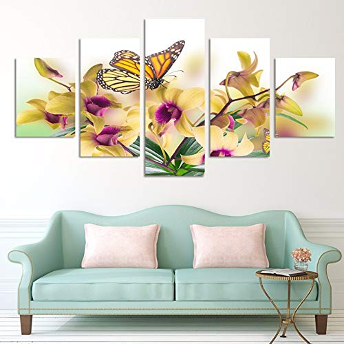 (YUGUO 5 Canvas Prints Home Decoration for Kids Room FrameworkPanel Yellow Flowers Orchid Canvas Artwork Print Modular Painting Poster Wall Pictures)