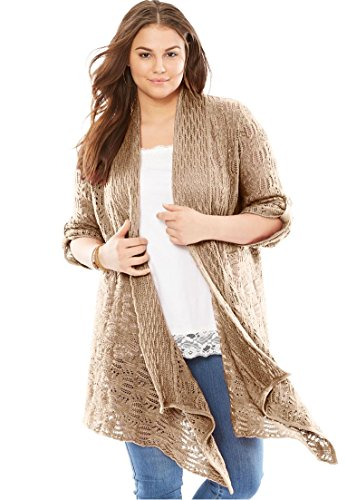Women's Plus Size Open Front Cardigan Pointelle Sweater New Khaki,3X Roll Sleeve Cardigan