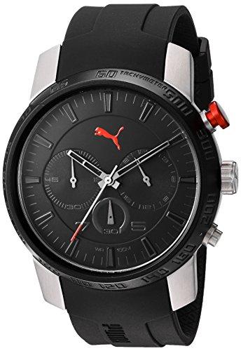 PUMA Men's Quartz Stainless Steel and Polyurethane Automatic Watch, Color:Black (Model: PU103051006)