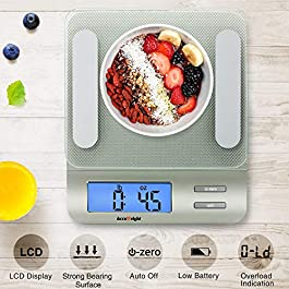 Accuweight 207 Digital Kitchen Multifunction Food Scale for Cooking with Large Back-lit LCD Display,Easy to Clean with…