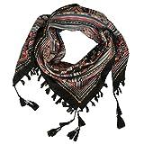 DOCILA Cotton Square Scarf, Exotic Geometric Print Head Wrap (Black)
