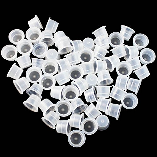 Wormhole Tattoo 500pcs Tattoo Ink Caps for Tattooing Tattoo Ink Cups Disposable Small Pigment Cups #13 Medium