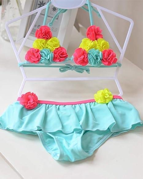 HUXINFEI Floral Niños Bebé Niña Bikini Set Niñas Trajes de ...