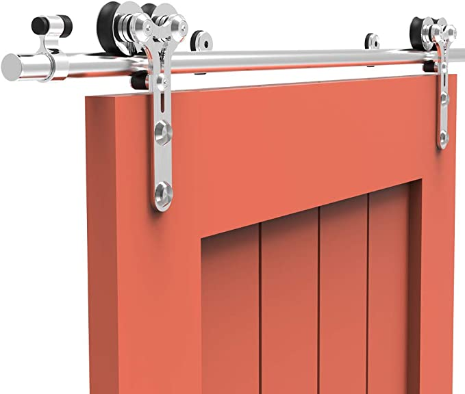213CM/7FT Herraje para Puerta Corredera Kit de Accesorios para Puertas Correderas Juego de Piezas de acero inoxidable Carril para Puerta Deslizante,para puerta de madera/puerta de cristal Y Shape: Amazon.es: Bricolaje y herramientas