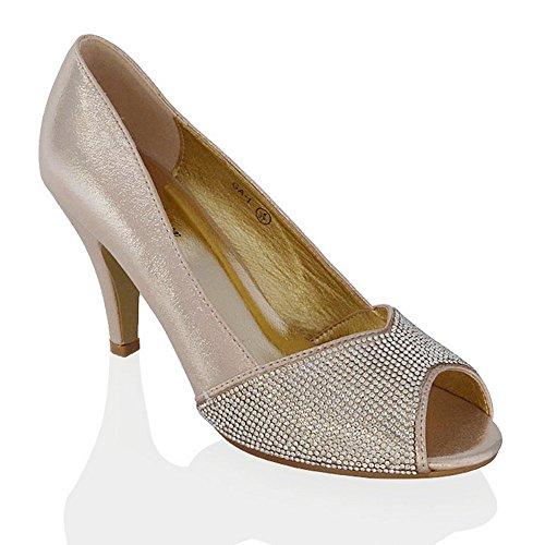 Peep Shoes Bridal Diamante Toe Satin Womens Slip Pumps Gold Kitten On GLAM ESSEX Heel 7R0vUYq
