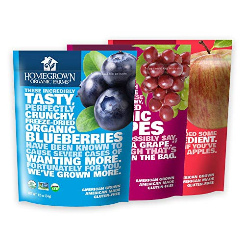 Freeze Dried Fruit Snacks by Homegrown Organic Farms - Organic Non-GMO Freeze-Dried Fruit Chips - All-Natural Vegan Freeze Dried Fruit (Variety Pack, 03 Bags)
