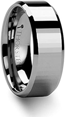 FREE Engraving 8 mm MERCATOR Flat Brush Finished Tungsten Ring with Grooves