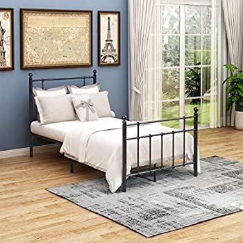 modern black circle beds with headboard for kids | Amazon.com: Metal Bed Frame Platform headboard and ...