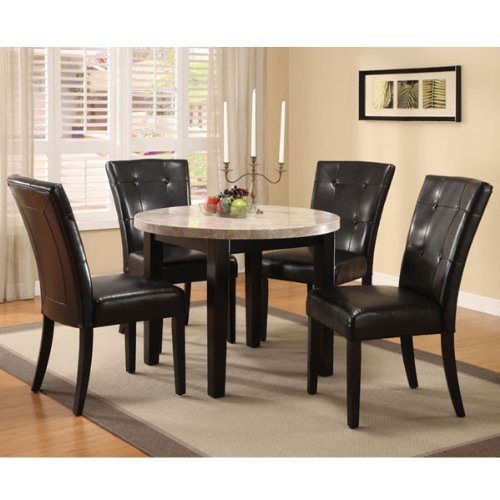 247SHOPATHOME Idf-3866RT-40-5PC Dining-Room-Sets, Beige - Parsons Chair Round Chair