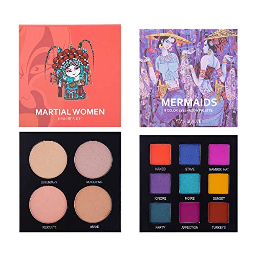 - Eyeshadow Palette Makeup - Highly Pigmented Matte and Shimmer 9 Colors Eye Shadow + Highlighter - Professional Long Lasting Waterproof Makeup Eyeshadow Palettes Cosmetics Eye Shadows, Face Set