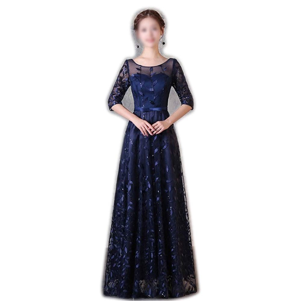 Navy bluee Sugoishop Fashion Spring Sexy Lace Round Neck Flowers Beads Dress Evening Formal Dress (color   Navy bluee, Size   S)