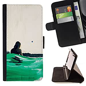 Jordan Colourful Shop - ocean green surfing sun summer For HTC One M7 - < Leather Case Absorci????n cubierta de la caja de alto impacto > -