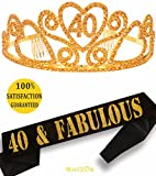 Gold 40th Birthday Tiara and Sash, HAPPY 40th Birthday Party Supplies, 40 & Fabulous Gold Black Glitter Satin Sash and Crystal Tiara Birthday Crown for 40th Birthday Party Sup (Gold Tiara + Gold Sash)