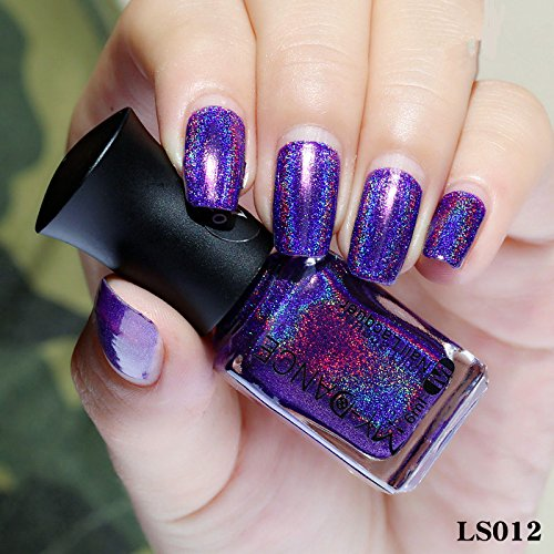 Holographic Nail Art Polish Glitter Lacquer Hologram Effect Laser Varnish Polish (012) (1 Hologram Laser)