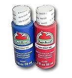 Apple Barrel Acrylic Paint Set - Blue Cobalt Hue and Bright Red (2 Ounces each)