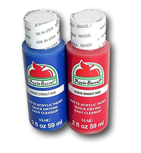 Apple Barrel Acrylic Paint Set - Blue Cobalt Hue and Bright Red (2 Ounces each) -  Plaid Enterprises Inc, 9989