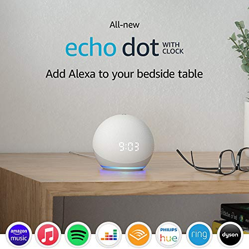 Echo Dot (4th generation) | Smart speaker with clock and Alexa | Glacier White