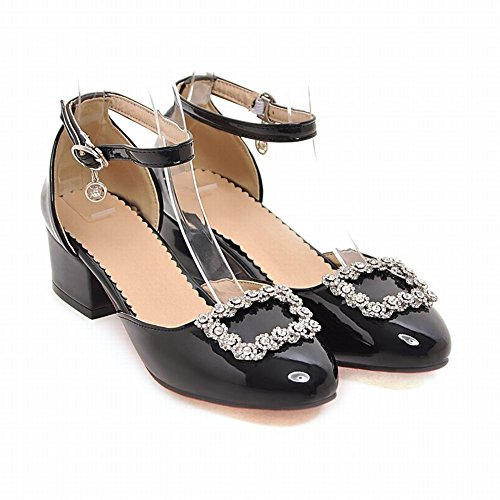 Sandals Black Leather Shoes Rhinestones Heel Dress Mid Carolbar Patent Womens x7qYwpROS