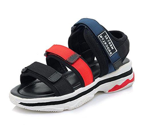 Plateau Mesh Blau Sport Flach Unisex Klettverschluss Sandalette Durchgängig Damen Aisun wPXqpax