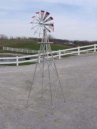 8 Ft Premium Aluminum Decorative Garden Windmill  Red Trim
