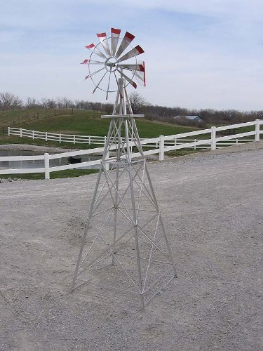 8 Ft Premium Aluminum Decorative Garden Windmill  Red Trim