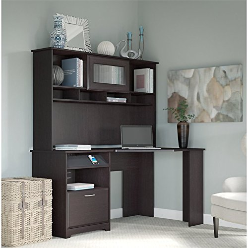Bush Furniture Cabot Corner Desk with Hutch in Espresso Oak by Bush Furniture
